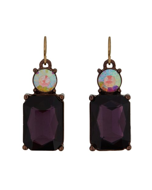 PURPLE WITH OPAL TOP EARRINGS
