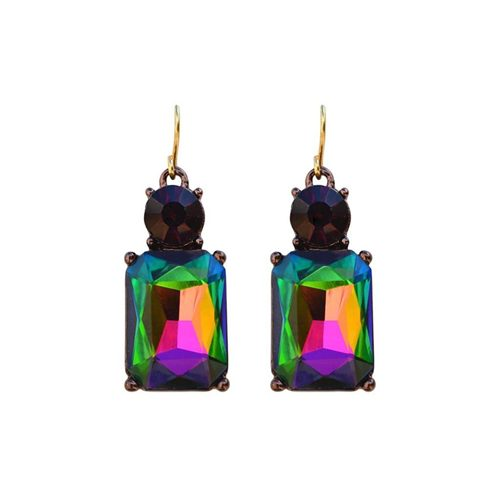 RAINBOW WITH BURGANDY TOP EARRINGS