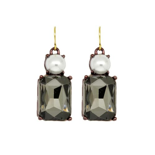 SLATE WITH PEARL TOP EARRINGS