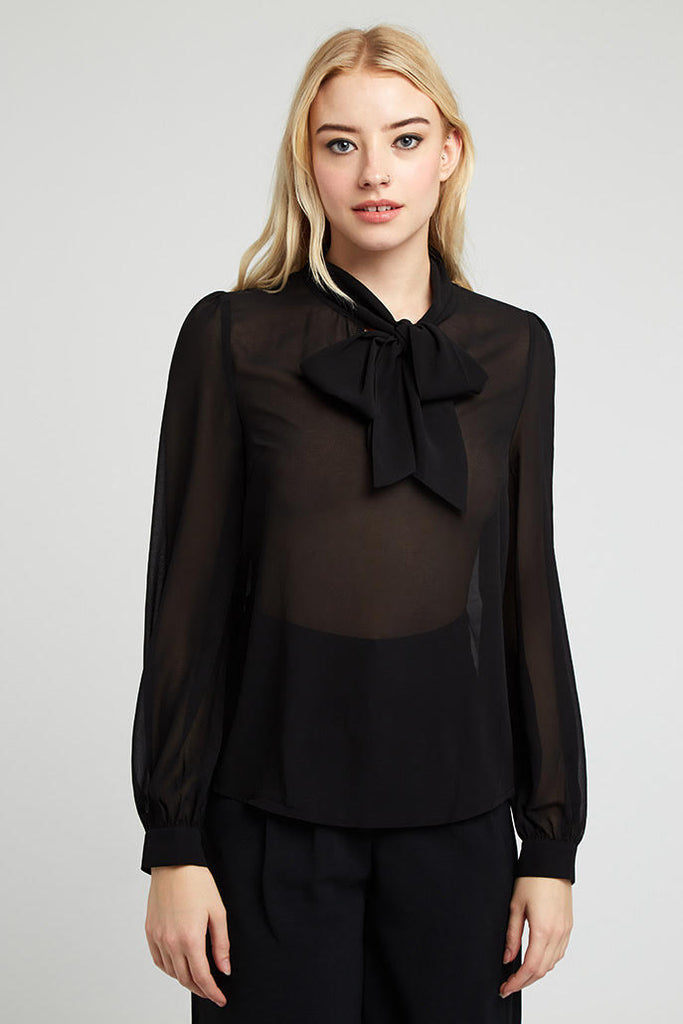 ADELPHINE GEORGETTE TIE NECK BLOUSE