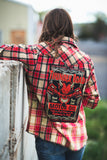 Black and Red Flannel Distressed Refashioned with Thunder Road Logo Applique