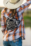 Black and Orange Pearl Snap Girls With Guns Applique Plaid Mens Small Refashioned