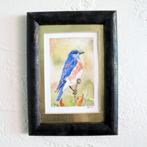 Framed Mountain Blue Bird Watercolor Art