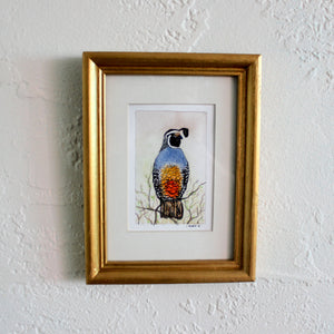 Framed Quail Watercolor Painting