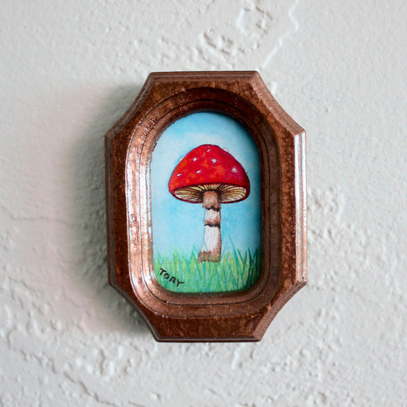 Framed Mushroom Watercolor Art
