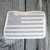Oregon Silhouette US Flag Die Cut Sticker in Matte Metallic Blue