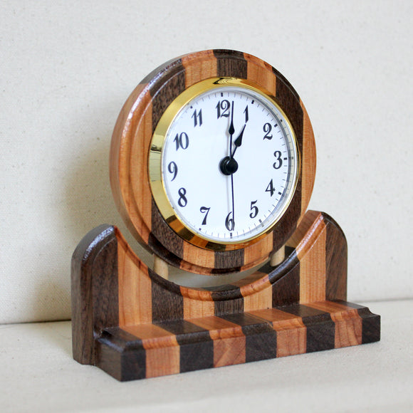 Black Walnut and Juniper Floating Wood Clock