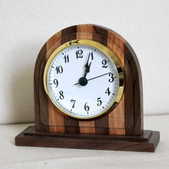 Black Walnut and Juniper Striped Desk Clock