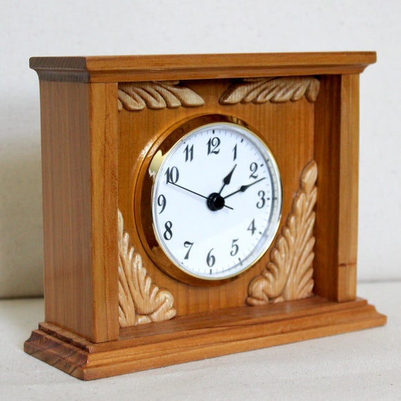 Cedar Box Clock with Filigree Details