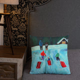 From the original acrylic painting titled THE THREE RED SLEDS. Premium Pillow