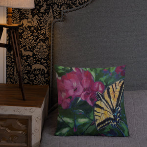 Butterfly with Geranium-Premium Pillow
