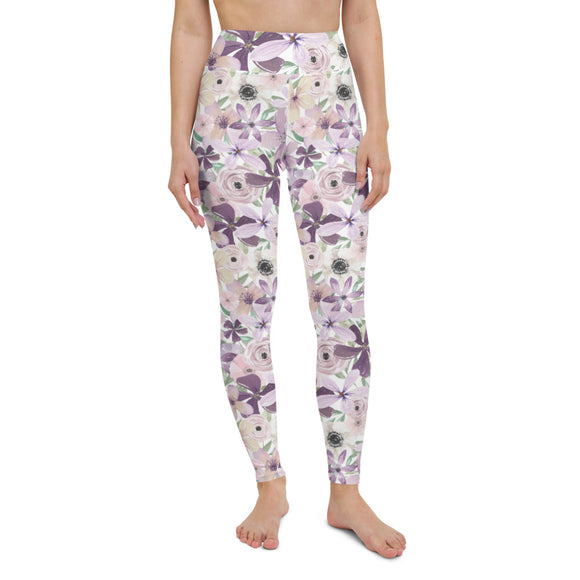 Purple Flowers Yoga Leggings