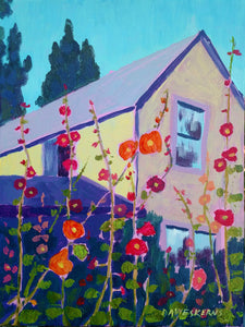 The Old House w/ Hollyhocks