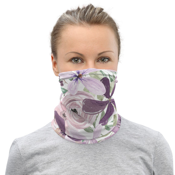 Purple Flowers Neck Gaiter