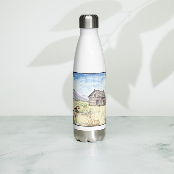 Magnus Sparrow Cabin Watercolor Stainless Steel Water Bottle