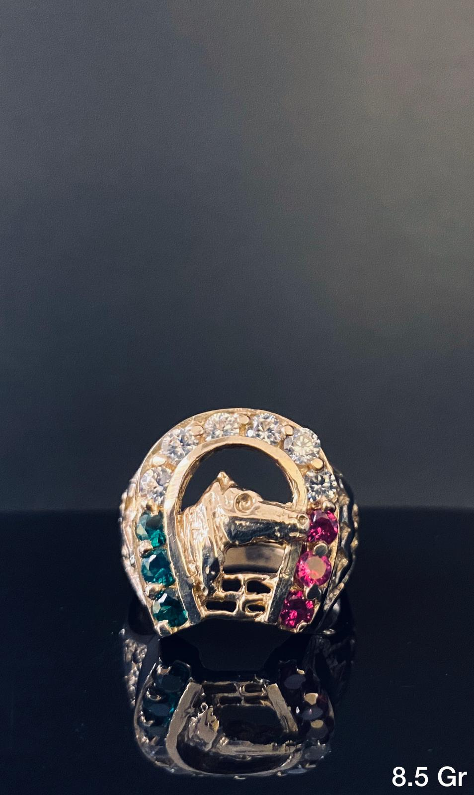 Horse Head With Horseshoe Ring 10k Solid Gold Tamayo Gold Llc