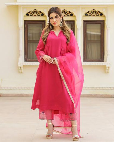 Magenta Embroidery Modal Suit Set
