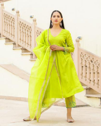 Green Embroidery Modal Suit Set