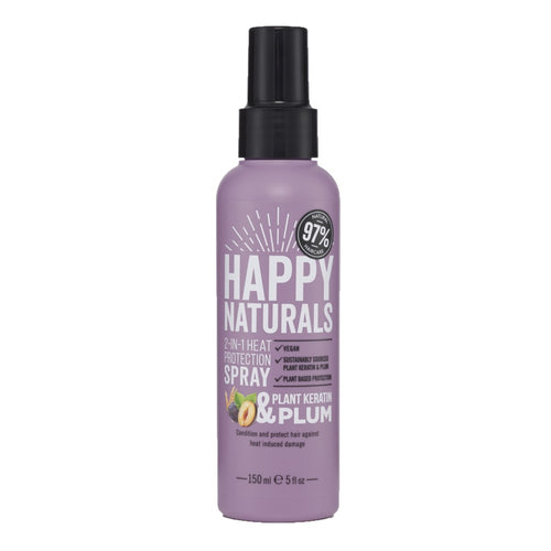 HAPPY NATURALS HEAT PROTECTION SPRAY 2 IN 1 - KERATIN & PLUM 150ML - Beauty Bar Cyprus