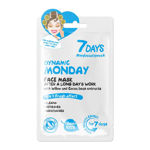 7DAYS DYNAMIC MONDAY SHEET MASK WITH WILLOW AND COCOA BEANS EXTRACT - Beauty Bar Cyprus