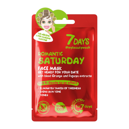 7DAYS ROMANTIC SATURDAY SHEET MASK WITH BLOOD ORANGE AND PAPAYA EXTRACTS - Beauty Bar Cyprus