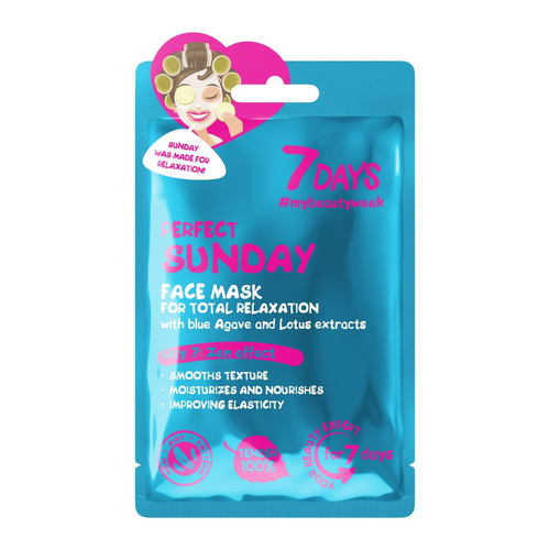 7DAYS PERFECT SUNDAY SHEET MASK WITH BLUE AGAVE AND LOTUS EXTRACTS - Beauty Bar Cyprus