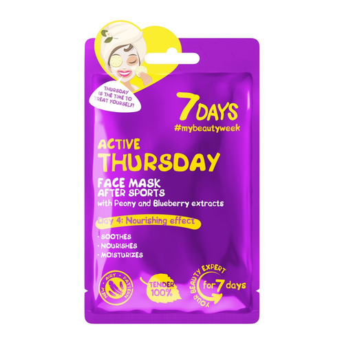 7DAYS ACTIVE THURSDAY SHEET MASK WITH PEONY & BLUEBERRY EXTRACTS - Beauty Bar Cyprus