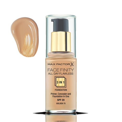 MAX FACTOR FACE FINITY ALL DAY FLAWLESS 3 IN 1 FOUNDATION - AVAILABLE IN A VARIETY OF SHADES - Beauty Bar Cyprus