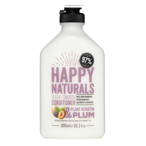 HAPPY NATURALS SLEEK & SMOOTH - KERATIN & PLUM CONDITIONER 300ML - Beauty Bar Cyprus