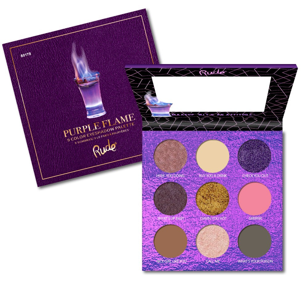 RUDE COCKTAIL PARTY 9 COLOR EYESHADOW PALETTE - PURPLE FLAME - Beauty Bar Cyprus