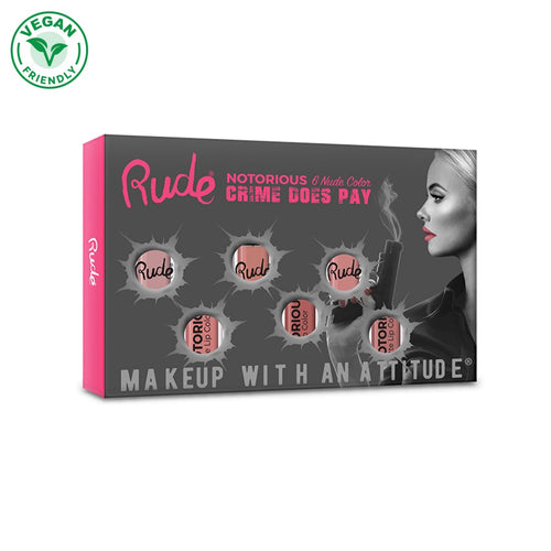 RUDE CRIME DOES PAY NUDE 6 LIP COLOUR SET - Beauty Bar Cyprus