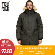 Load image into Gallery viewer, TIGER FORCE Men Parka Hooded Winter Jacket for Men Artificial Fur Collar Warm Coat Adjustable Waist Thicken Coats Men Snowjacket