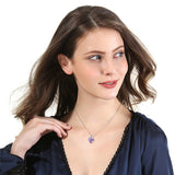 Amethyst Women Heart Pendant Necklace