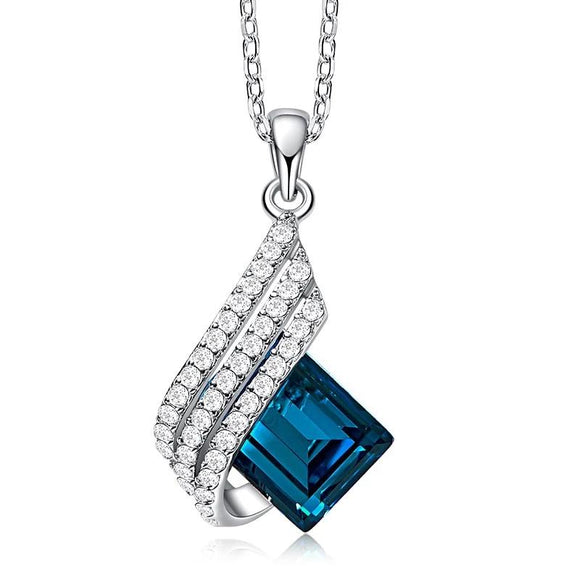 Geometric Diamond Glass Crystal Necklace