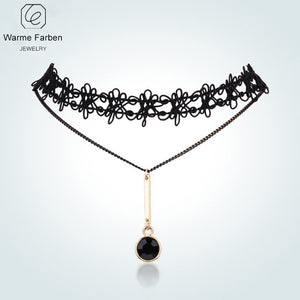 Obsidian Pendant Choker Necklace