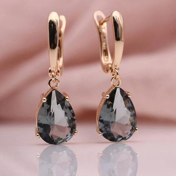 Natural Zircon Water Drop Earrings