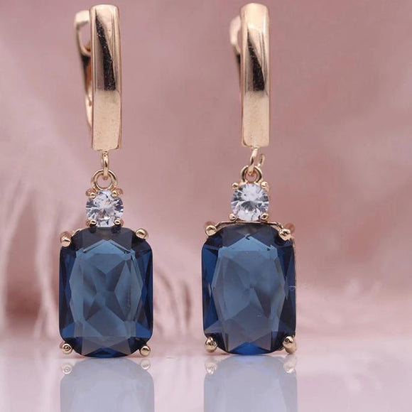 Cluster Stone Drop Earrings