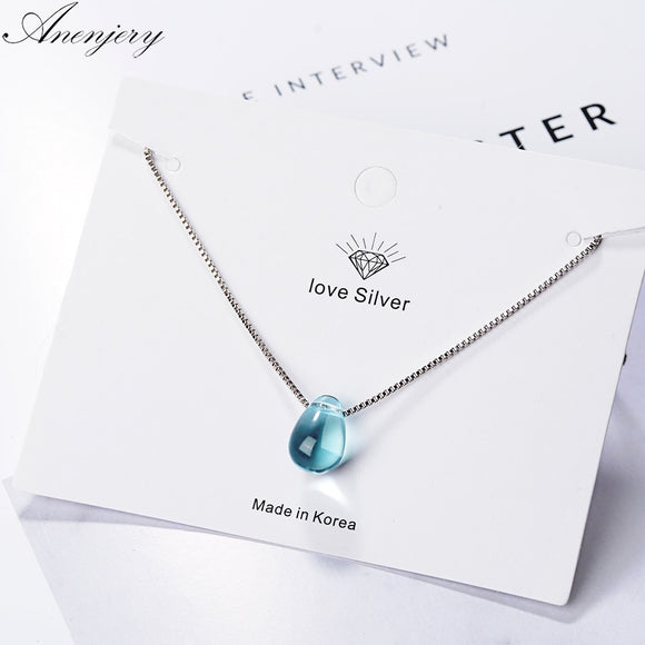 Blue Crystal  Clavicle Chain Necklace