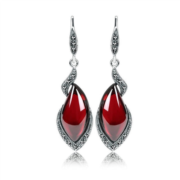 Retro Sterling Silver Drop Earrings