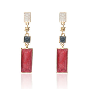 Square Red White Black Drop Earrings