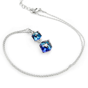 Square Double Crystal Cube Pendant Necklace