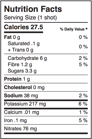 Elite Beet nutritional facts label