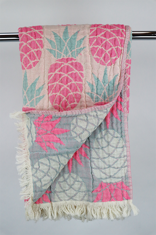 Hammam Pineapple pink/grå doublesided