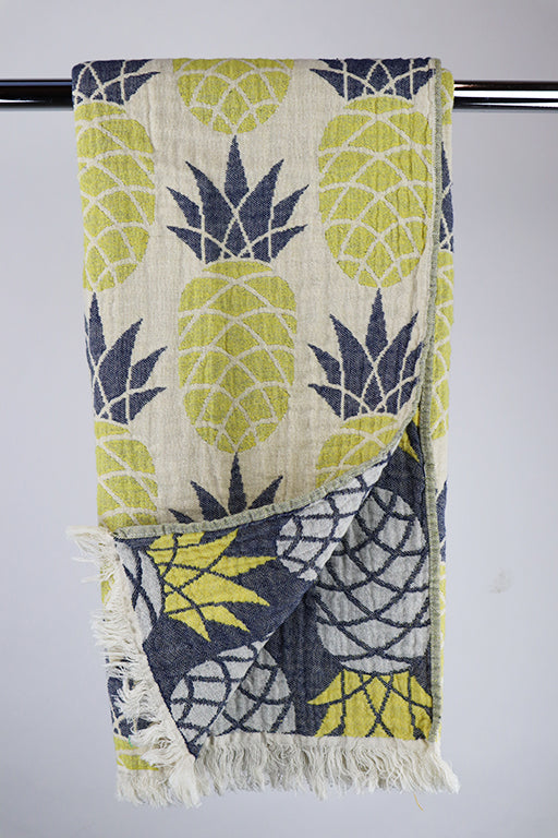 Hammam Pineapple gul/navy doublesided