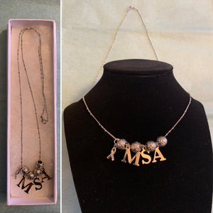 MSA Multiple System Atrophy Awareness Ribbon Necklace
