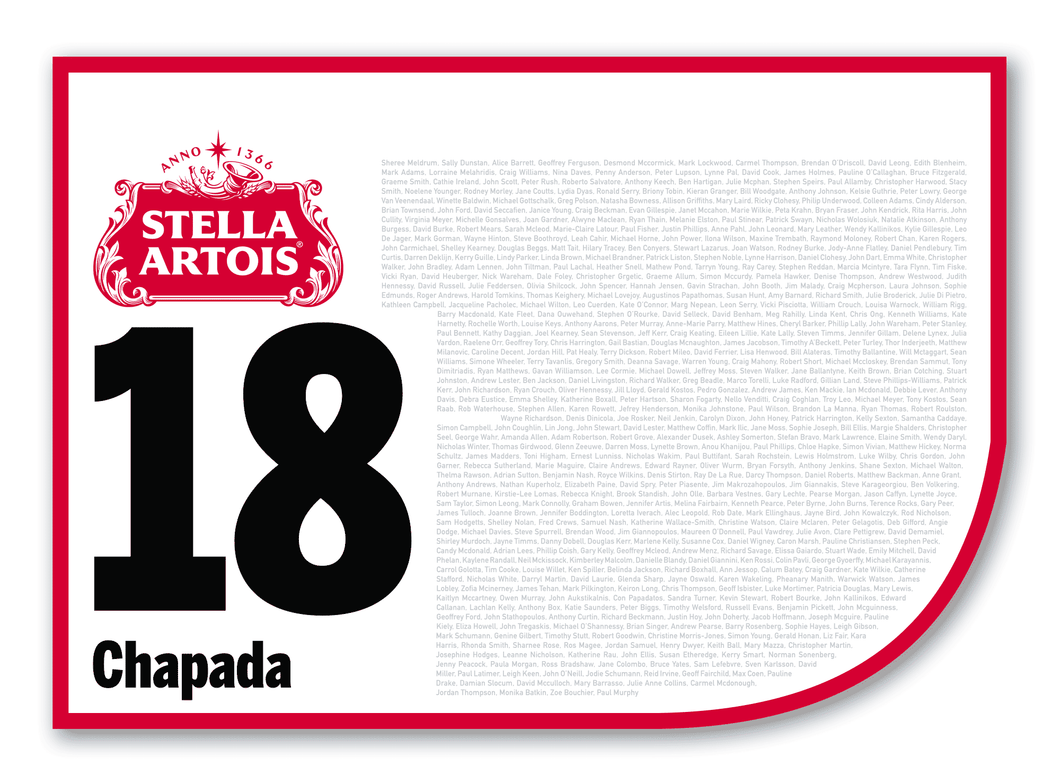 2020 Stella Artois Caulfield Cup Members' Saddlecloth #18 Chapada