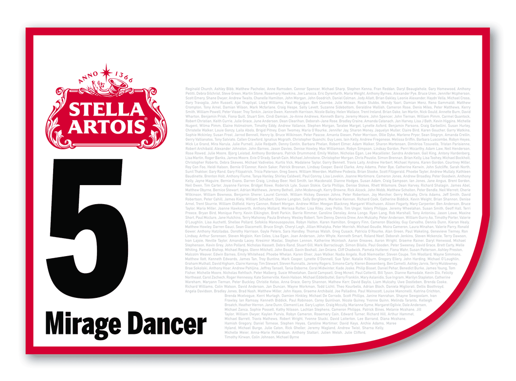 2020 Stella Artois Caulfield Cup Members' Saddlecloth #5 Mirage Dancer (GB)