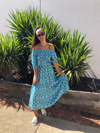 Turquoise off the shoulder Dress