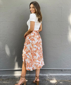Orange palm wrap skirt