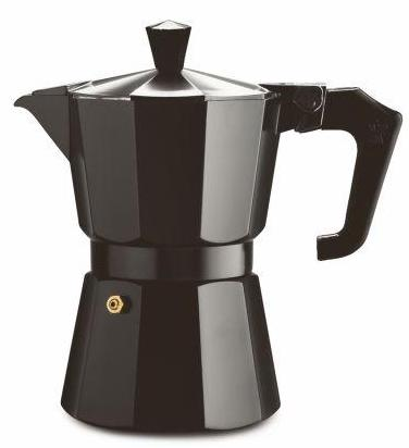 MOKA POT - 3-CUP Italian Coffee Brewer - Black Enamel